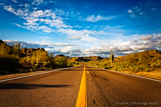 Arizona highway 88 with blue skies and clouds.